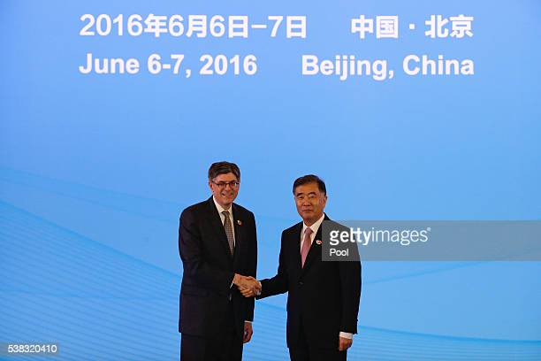S Treasury Secretary Jacob Lew shakes hands with China's Vice Premier Wang Yang during the 8th round of the USChina Strategic and Economic Dialogue...