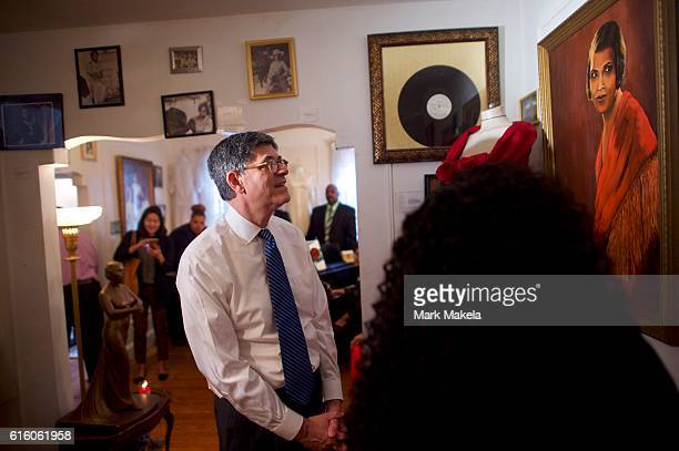 S Treasury Secretary Jacob Lew visits the Marian Anderson Residence Museum to discuss her inclusion on the $5 bill October 21 2016 in Philadelphia...