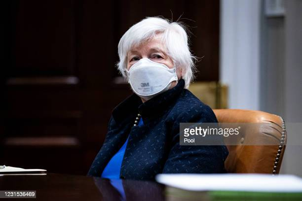Treasury Secretary Janet Yellen listens during a meeting with President Joe Biden in the Roosevelt Room of the White House, March 5, 2021 in...