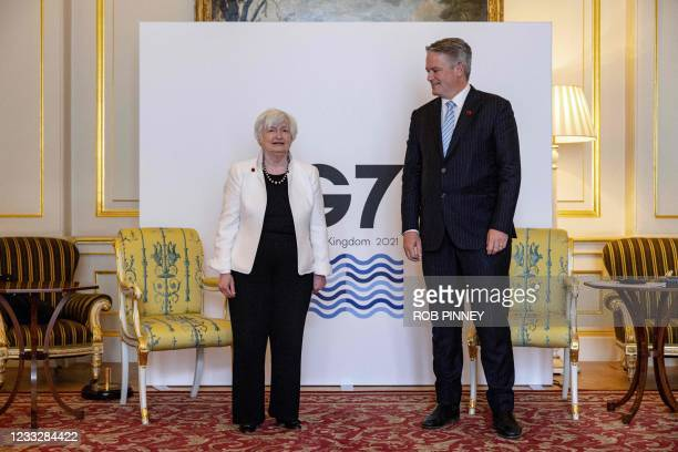 Treasury Secretary Janet Yellen meets with Secretary-General of the Organisation for Economic Co-operation and Development Mathias Cormann during a...