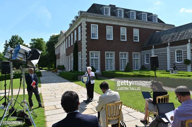 Treasury Secretary Janet Yellen speaks during a press conference at Winfield House in London on June 5 after attending the G7 Finance Ministers...