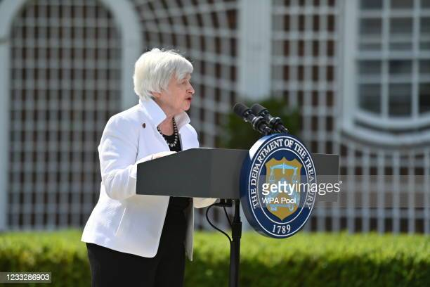 Treasury Secretary, Janet Yellen speaks during a press conference after attending the G7 Finance Ministers meeting at Winfield House on June 5, 2021...