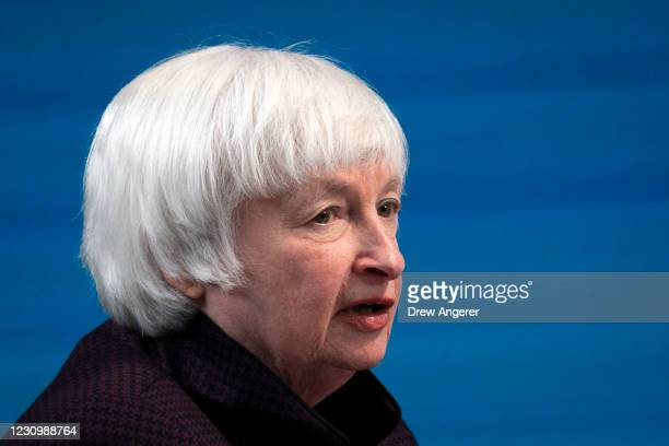 Treasury Secretary Janet Yellen speaks during a virtual roundtable event with participants from local Black Chambers of Commerce on February 5, 2021...