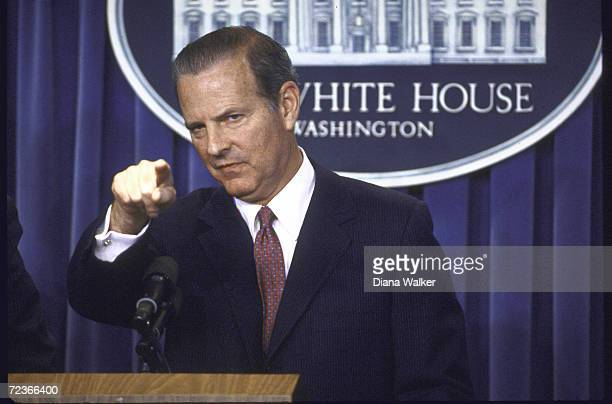 Treasury Secretary Jim Baker during a White House Press conference about the budget