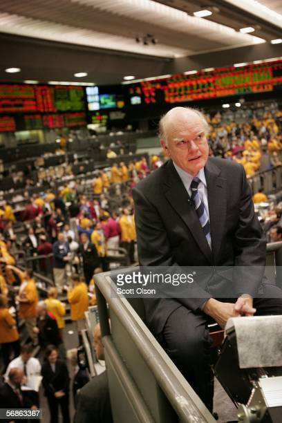 Treasury Secretary John Snow is interviewed for a financial television news program during a visit to the Chicago Mercantile Exchange February 16...