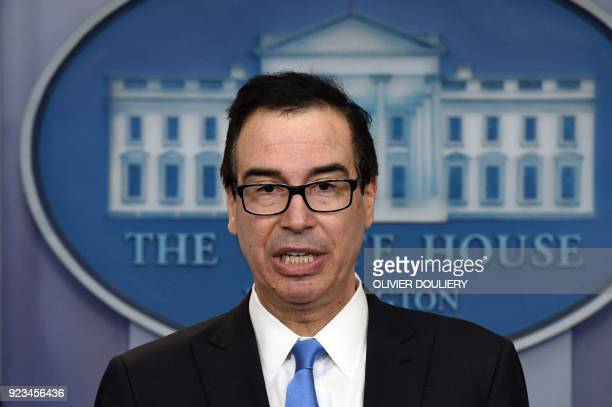Treasury Secretary Mnuchin speaks during an on camera briefing on the administrations new North Korea sanctions in the Briefing Room of the White...