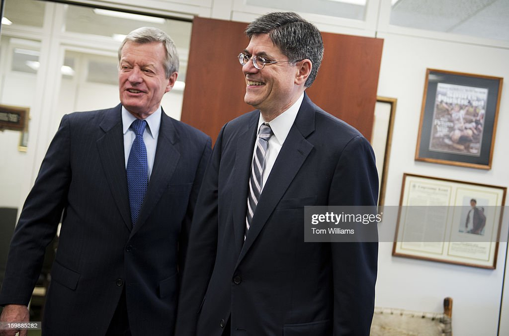 Treasury Secretary nominee Jack Lew, right, meets with Sen. Max Baucus, D-Mont., chairman of the Senate Finance Committee, in Hart Building.