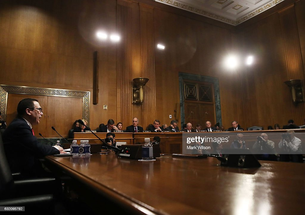 Senate Holds Confirmation Hearing for Treasury Security Nominee Steven Mnuchin : News Photo