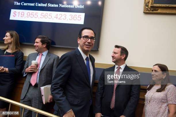Treasury Secretary Steve Mnuchin arrives to testify before a House Financial Services Committee hearing in Rayburn Building on the international...