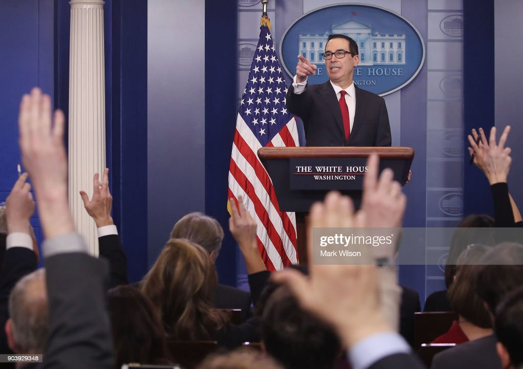 Treasury Secretary Steve Mnuchin takes questions while talking about new changes for the U.S. tax code, during a briefing at the White House, on January 11, 2018 in Washington, DC.