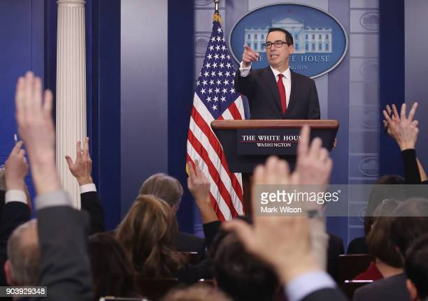 Treasury Secretary Steve Mnuchin takes questions while talking about new changes for the US tax code during a briefing at the White House on January...