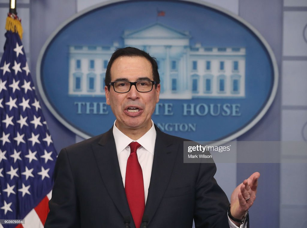 Treasury Secretary Steve Mnuchin talks about new changes for the U.S. tax code, during a briefing at the White House, on January 11, 2018 in Washington, DC.
