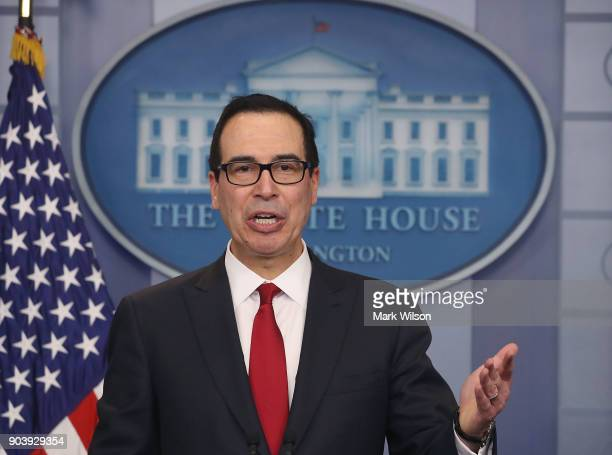 Treasury Secretary Steve Mnuchin talks about new changes for the US tax code during a briefing at the White House on January 11 2018 in Washington DC