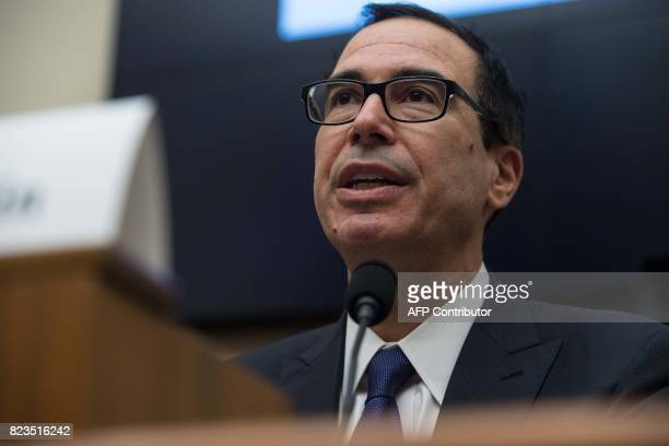US Treasury Secretary Steve Mnuchin testifies before a House Financial Services Committee hearing on the state of the international financial system...