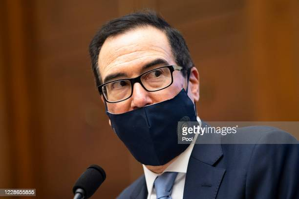 S Treasury Secretary Steve Mnuchin testifies before the House Financial Services Committee hearing on the Treasury Department's and Federal Reserve's...
