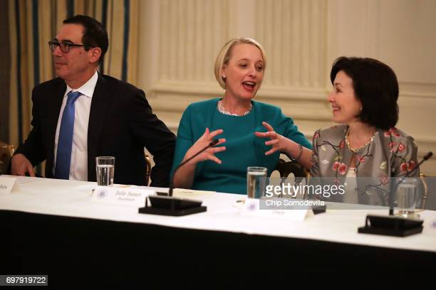 Treasury Secretary Steven Mnuchin Accenture CEO Julie Sweet and Oracle CoCEO Safra Catz visit before a meeting of the White House American Technology...