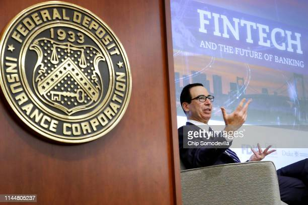 S Treasury Secretary Steven Mnuchin addresses a conference on financial technology or fintech at the Federal Deposit Insurance Corporation April 24...