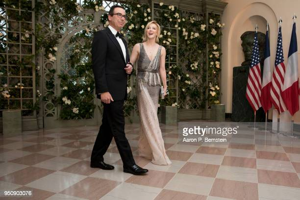 April 24: Treasury Secretary Steven Mnuchin and his wife Louise Linton arrive at the White House for a state dinner April 24, 2018 in Washington, DC...