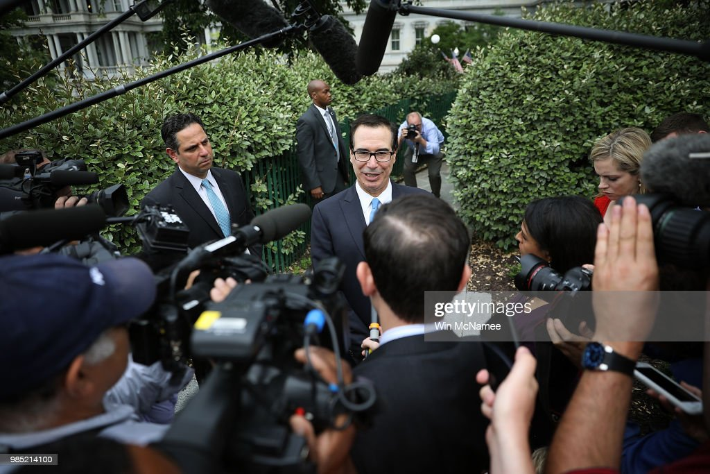 Treasury Secretary Mnuchin Talks To Reporters At White House