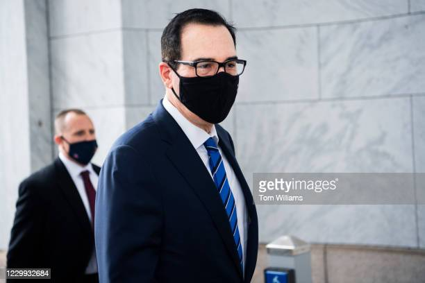 Treasury Secretary Steven Mnuchin arrives for a House Financial Services Committee hearing titled Oversight of the Treasury Departments and Federal...