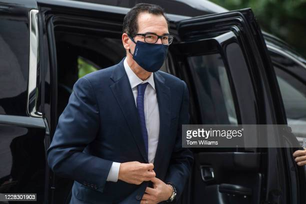 Treasury Secretary Steven Mnuchin arrives for the House Select Subcommittee on the Coronavirus Crisis hearing on the administrations response to the...