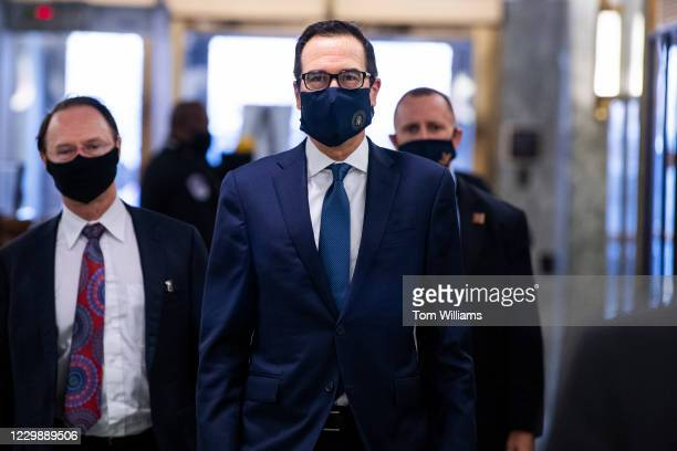 Treasury Secretary Steven Mnuchin arrives for the Senate Banking, Housing and Urban Affairs Committee hearing titled The Quarterly CARES Act Report...