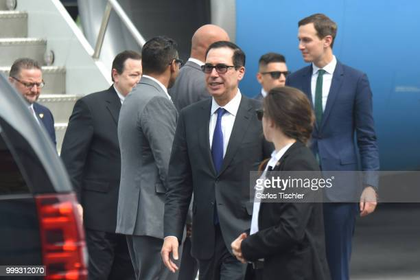 Treasury Secretary Steven Mnuchin arrives to UETAAM Airport Terminal as part of an official visit at Mexico's International Airport on July 13 2018...
