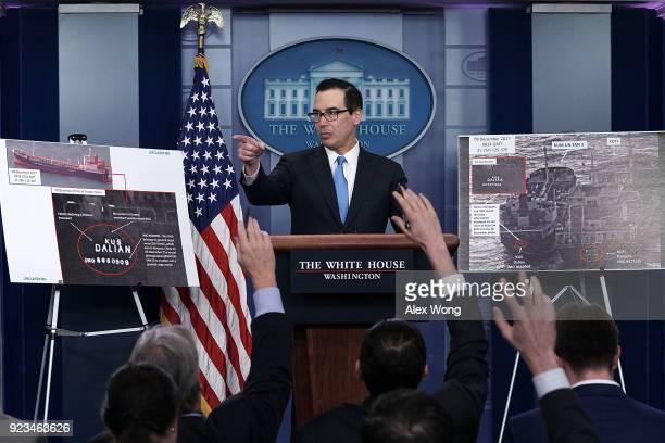 S Treasury Secretary Steven Mnuchin briefs members of the media in the James Brady Press Briefing Room of the White House February 23 2018 in...