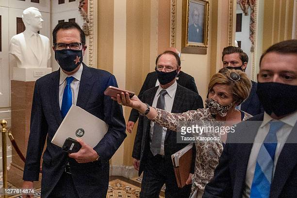 S Treasury Secretary Steven Mnuchin departs from the office of Senate Majority Leader Mitch McConnell at the US Capitol on September 30 2020 in...