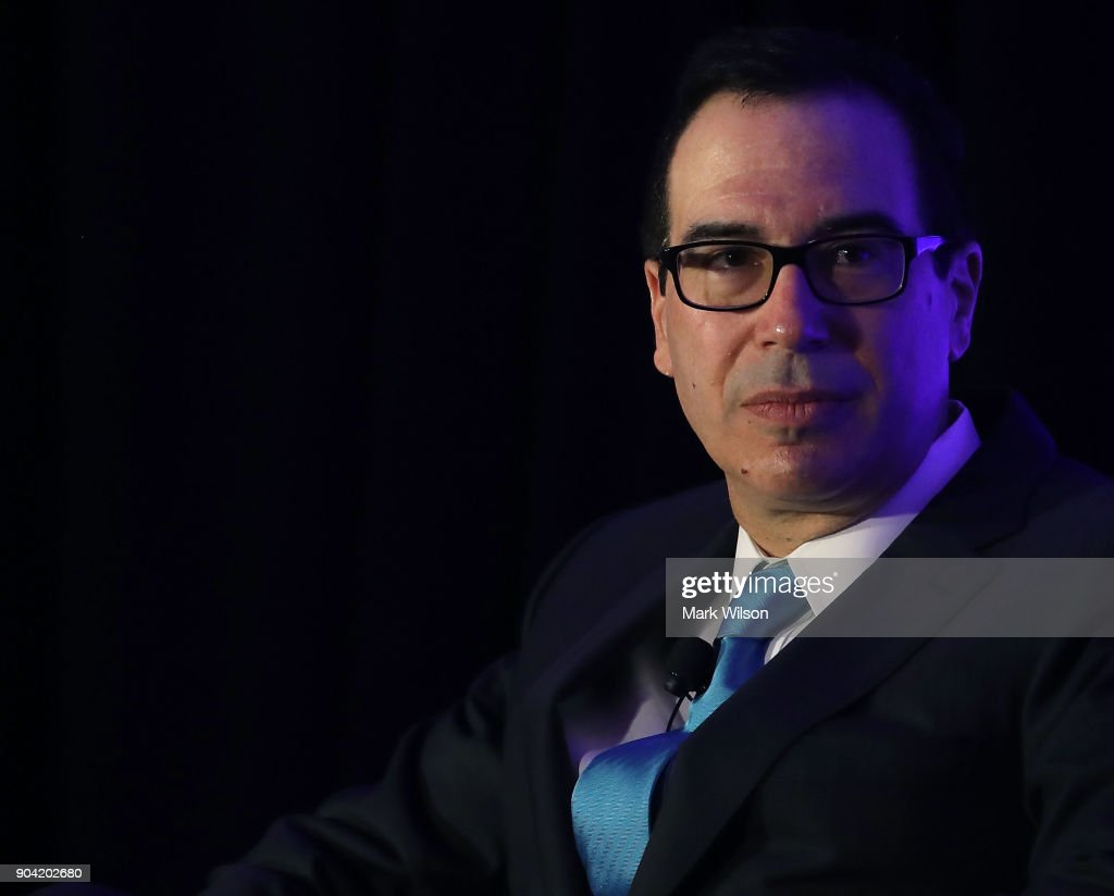 Treasury Secretary Steven Mnuchin discusses tax reform, and the debt ceiling, during a forum hosted by David Rubenstein, president of the Economic Club of Washington, on January 12, 2018 in Washington, DC.