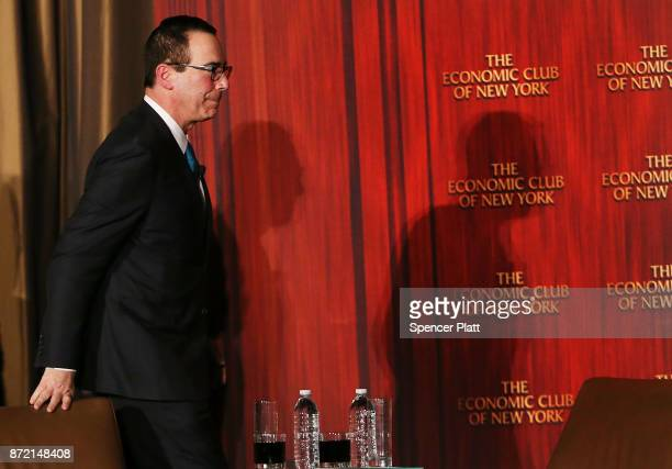Treasury Secretary Steven Mnuchin exits the stage after speaking at the Economic Club of New York on November 9 2017 in New York City Secretary...