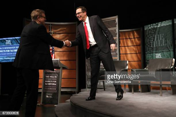 Treasury Secretary Steven Mnuchin leaves after participating in an interview during The Hill's Newsmaker Series 'Prospects for Tax Reform' at the...