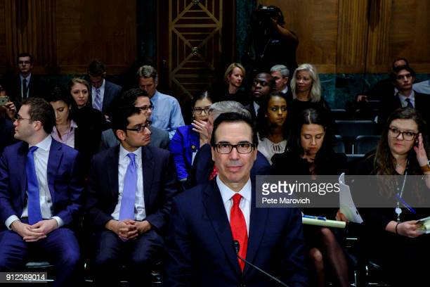 Treasury Secretary Steven Mnuchin prepares to deliver the annual financial stability report to the Senate Banking Housing and Urban Affairs Committee...