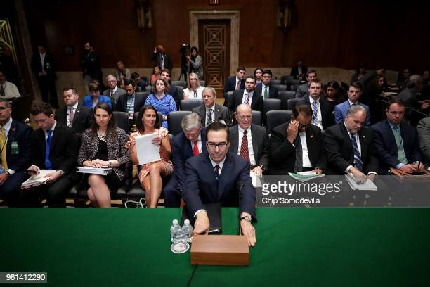S Treasury Secretary Steven Mnuchin prepares to testify before the Senate Appropriations Committee's Financial Services and General Government...