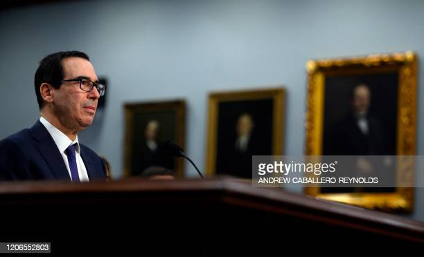US Treasury Secretary Steven Mnuchin speaks at a State Foreign Operations and Related Programs Subcommittee hearing on Department of the Treasury...