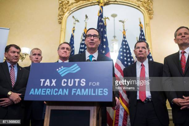 Treasury Secretary Steven Mnuchin speaks during a news conference in the Capitol where GOP senators said families and small businesses would benefit...