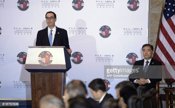 US Treasury Secretary Steven Mnuchin speaks during a US and China comprehensive Economic Dialogue at the US Department of the Treasury as Chinese...