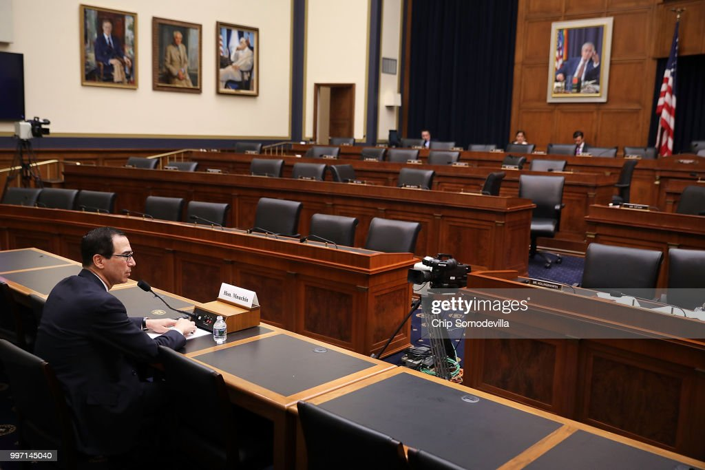 U.S. Treasury Secretary Steven Mnuchin testifies before a nearly-empty room during a hearing of the House Financial Services Committee in the Rayburn House Office Building on Capitol Hill July 12, 2018 in Washington, DC. Mnuchin answered questions about the 'the State of the International Financial System.'