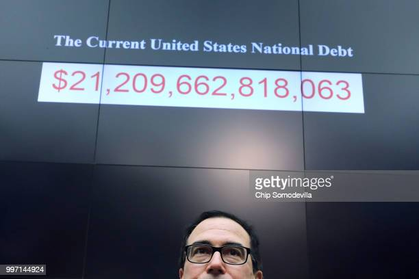 S Treasury Secretary Steven Mnuchin testifies before the House Financial Services Committee in the Rayburn House Office Building on Capitol Hill July...