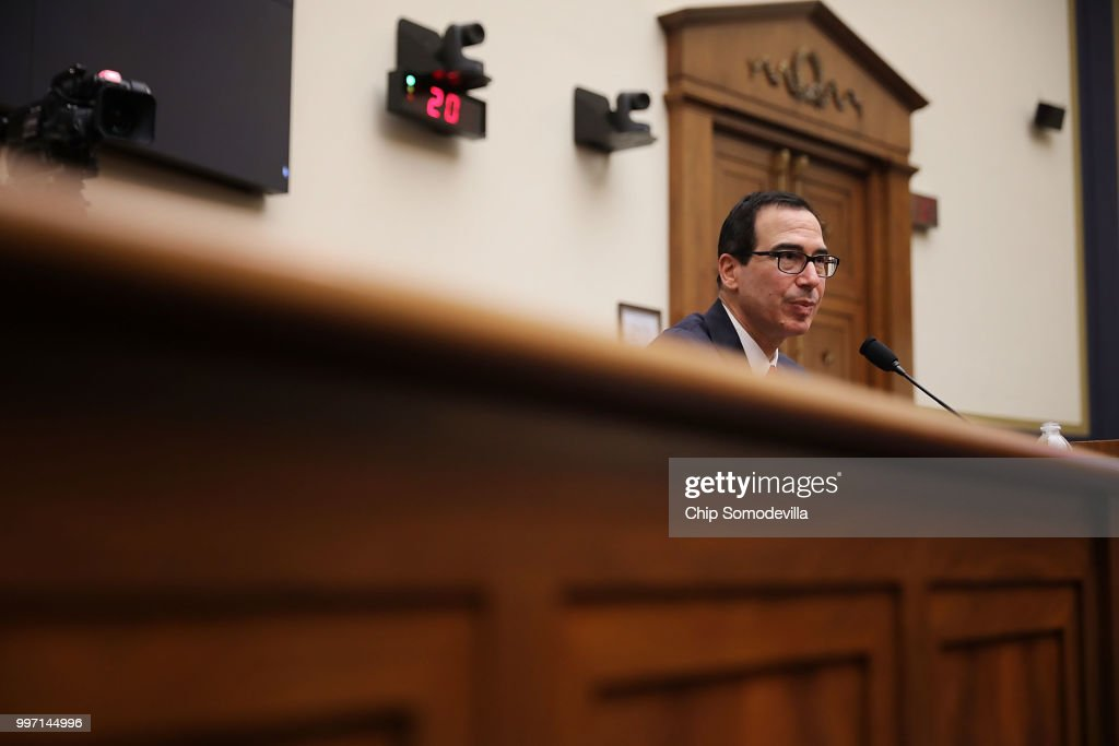 U.S. Treasury Secretary Steven Mnuchin testifies before the House Financial Services Committee in the Rayburn House Office Building on Capitol Hill July 12, 2018 in Washington, DC. Mnuchin answered questions about the 'the State of the International Financial System.'
