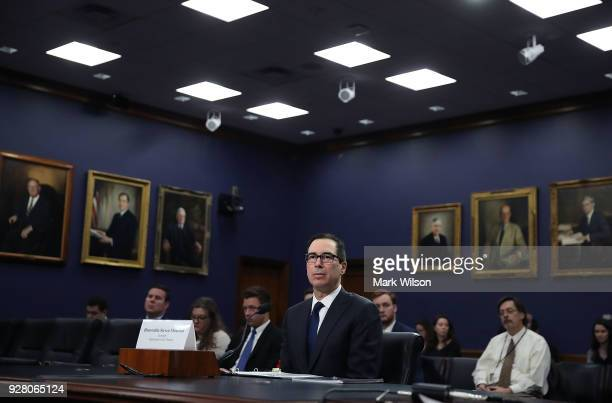 Treasury Secretary Steven Mnuchin testifies during a House Appropriations Committee hearing on Capitol Hill on March 6 2018 in Washington DC The...