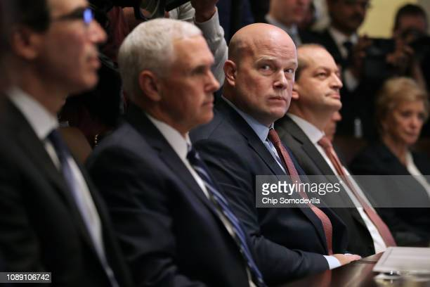 Treasury Secretary Steven Mnuchin Vice President Mike Pence acting US Attorney General Matthew Whitaker Labor Secretary Alex Acosta and other members...