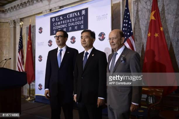 US Treasury Secretary Steven MnuchinChinese Vice Premier Wang Yang and US Commerce Secretary Wilbur Ross attend a US and China comprehensive Economic...