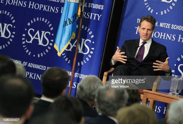 Treasury Secretary Tim Geithner speaks at the Johns Hopkins University Paul H Nitze School of Advanced International Studies on January 12 2011 in...