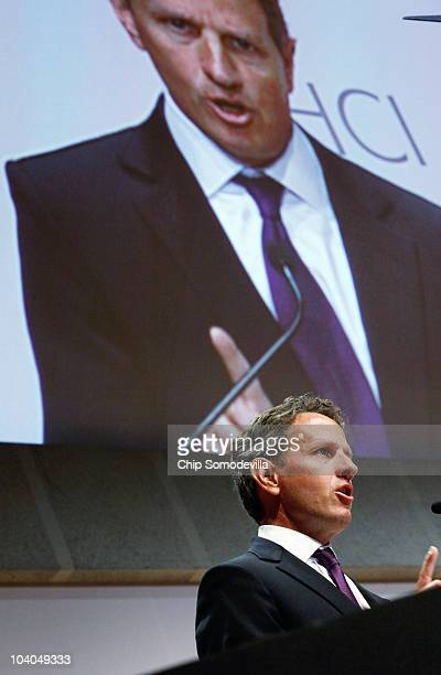 S Treasury Secretary Timothy Geithner addresses the opening session of the institute's Public Policy Conference at the Ronald Reagan Building and...