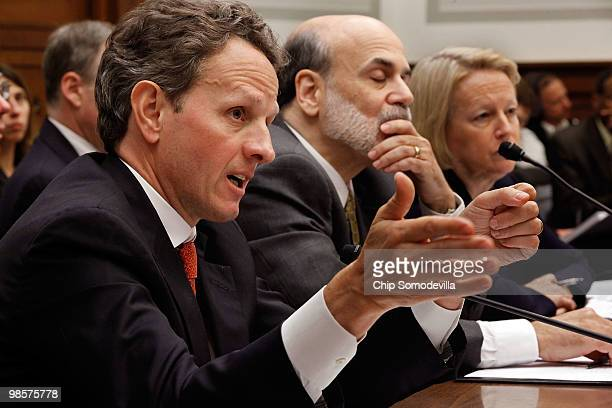 Treasury Secretary Timothy Geithner Federal Reserve Bank Chairman Ben Bernanke and Securities and Exchange Commission Chairman Mary Schapiro testify...