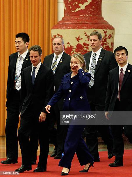 S Treasury Secretary Timothy Geithner Secretary of State Hillary Clinton and Ambassador to China Gary Locke arrives at the Great Hall of the People...