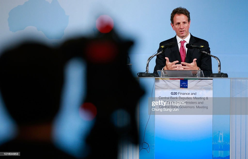 U.S. Treasury Secretary Timothy Geithner speaks during a press conference at the G-20 Financial Ministers and Central Governors meeting at Grand Hotel on June 5, 2010 in Busan, South Korea. G-20 countries discussed to tackle financial crisis caused by IMF's intervention to Greece and to achieve sustainable global growth.