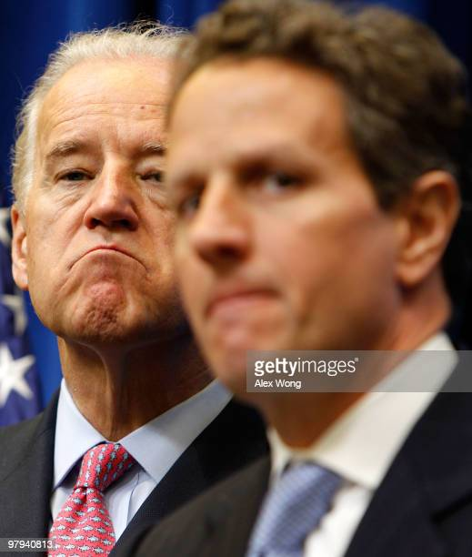 S Treasury Secretary Timothy Geithner speaks to the media as Vice President Joseph Biden listens at Eisenhower Executive Office Building March 22...