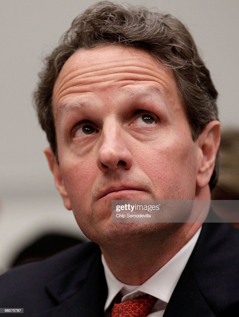 Treasury Secretary Timothy Geithner testifies before the House Financial Services Committee about the collapse of Lehman Brothers April 20, 2010 in Washington, DC. Court-appointed bankruptcy examiner Anton R. Valukas' report, published in March, refers to a Lehman tactic that temporarily shuffled about $50 billion off the firm�s balance sheet for the two fiscal quarters before it collapsed, making the investment bank look less indebted than it really was.